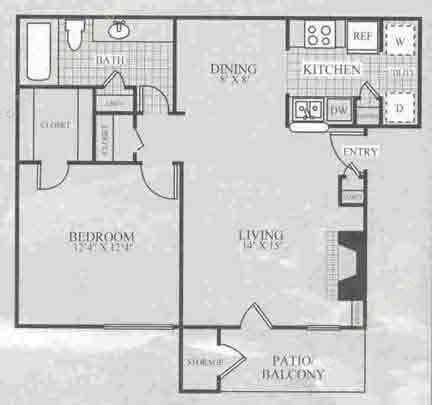 685 sq. ft. A1B floor plan