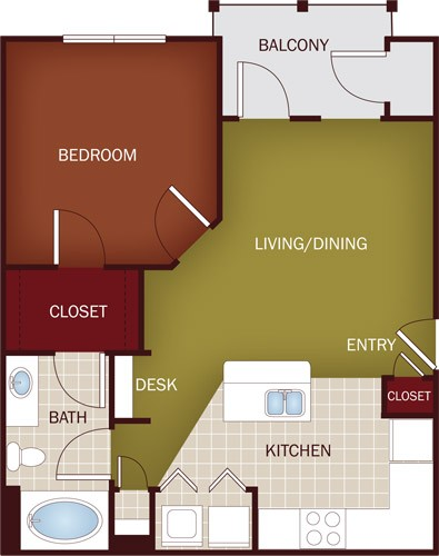689 sq. ft. A3 floor plan