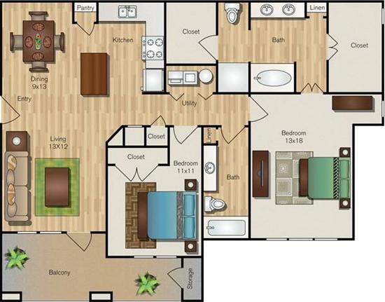 1,281 sq. ft. B3 floor plan