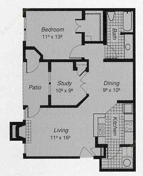 856 sq. ft. 1-C floor plan
