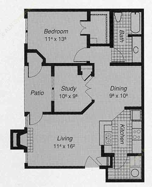 856 sq. ft. 1-C floor plan