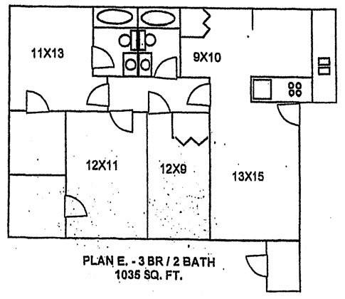 1,035 sq. ft. floor plan