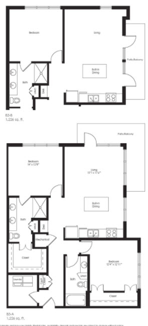 1,226 sq. ft. B3B floor plan
