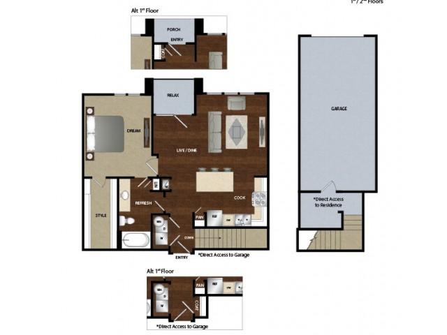 848 sq. ft. A4G floor plan
