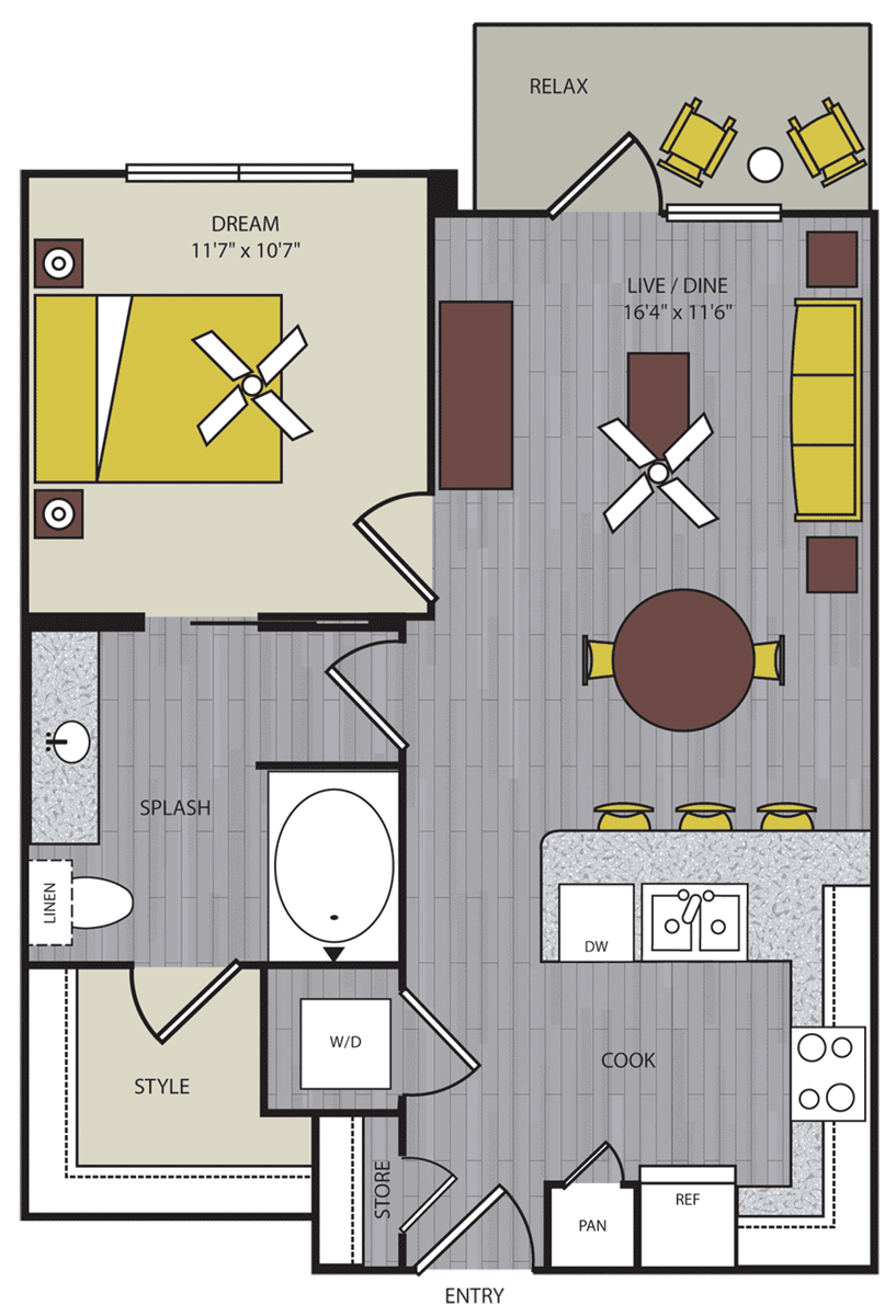 663 sq. ft. to 675 sq. ft. A8 floor plan