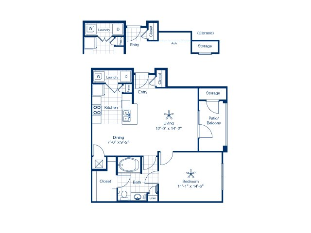 772 sq. ft. to 789 sq. ft. Heron floor plan