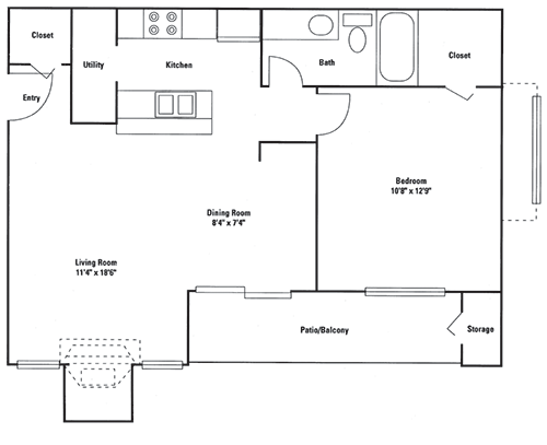679 sq. ft. Midway floor plan