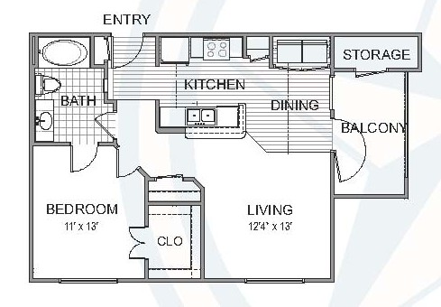 692 sq. ft. Brazos floor plan