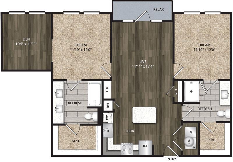 1,103 sq. ft. B1B floor plan
