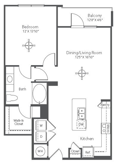 820 sq. ft. to 833 sq. ft. A11 floor plan
