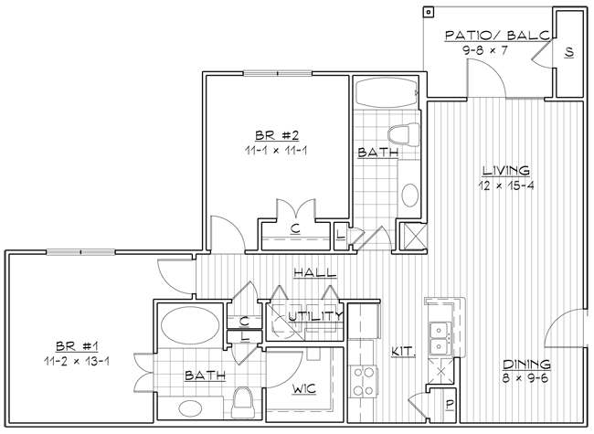 1,228 sq. ft. 50% floor plan