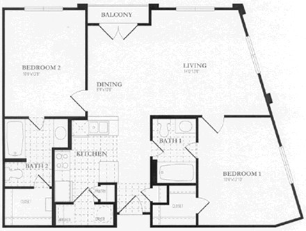 997 sq. ft. floor plan