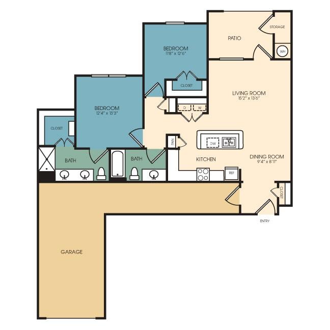 1,086 sq. ft. Snowmass floor plan