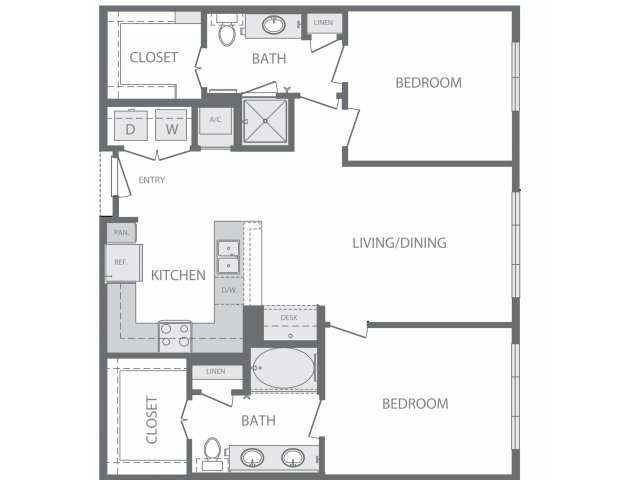 1,080 sq. ft. to 1,150 sq. ft. B2 floor plan