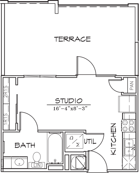323 sq. ft. floor plan