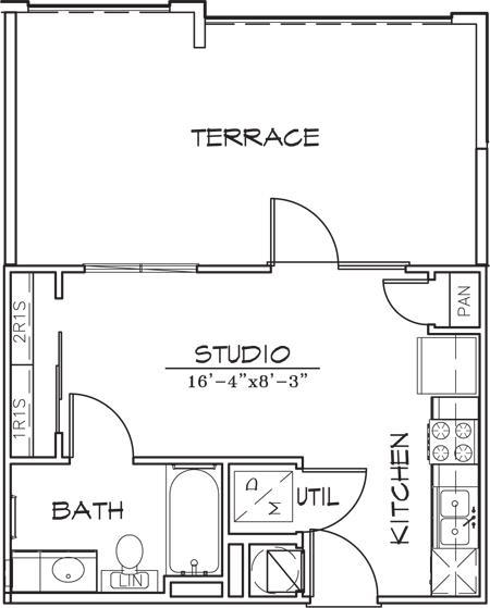 323 sq. ft. floor plan