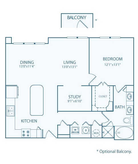 994 sq. ft. A3 floor plan