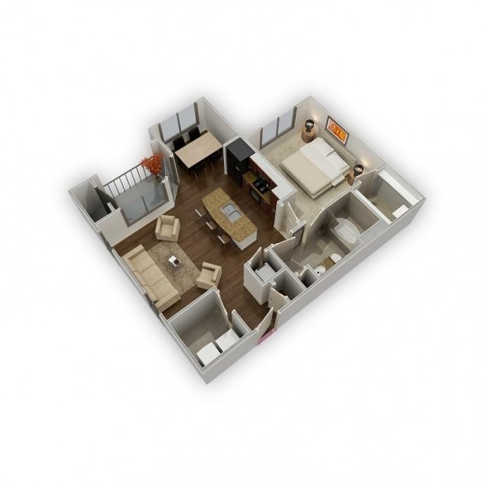 767 sq. ft. Refresh floor plan