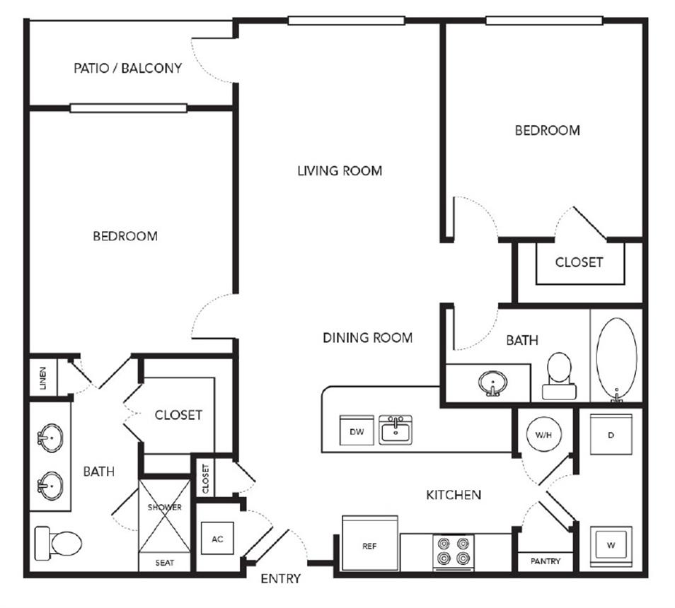 959 sq. ft. B2 floor plan