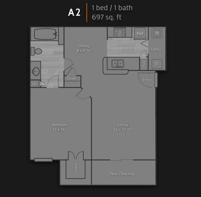 697 sq. ft. A2 floor plan