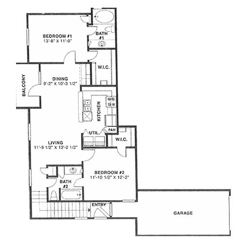 1,044 sq. ft. E 60% floor plan