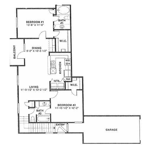 1,044 sq. ft. E 60% floor plan