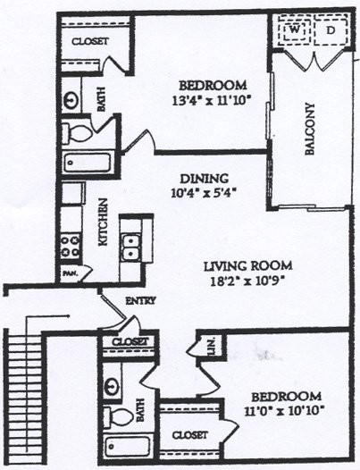 905 sq. ft. BWD floor plan