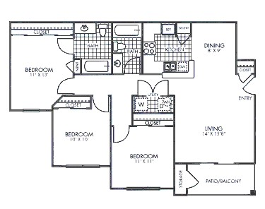 1,035 sq. ft. floor plan