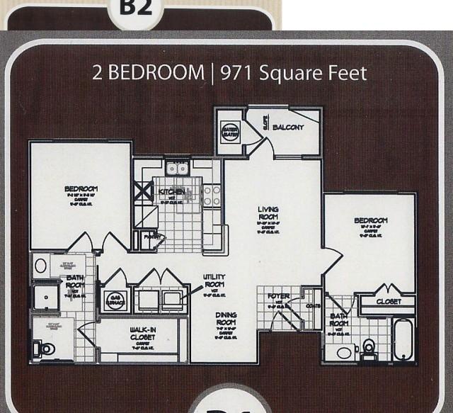 971 sq. ft. 60% floor plan