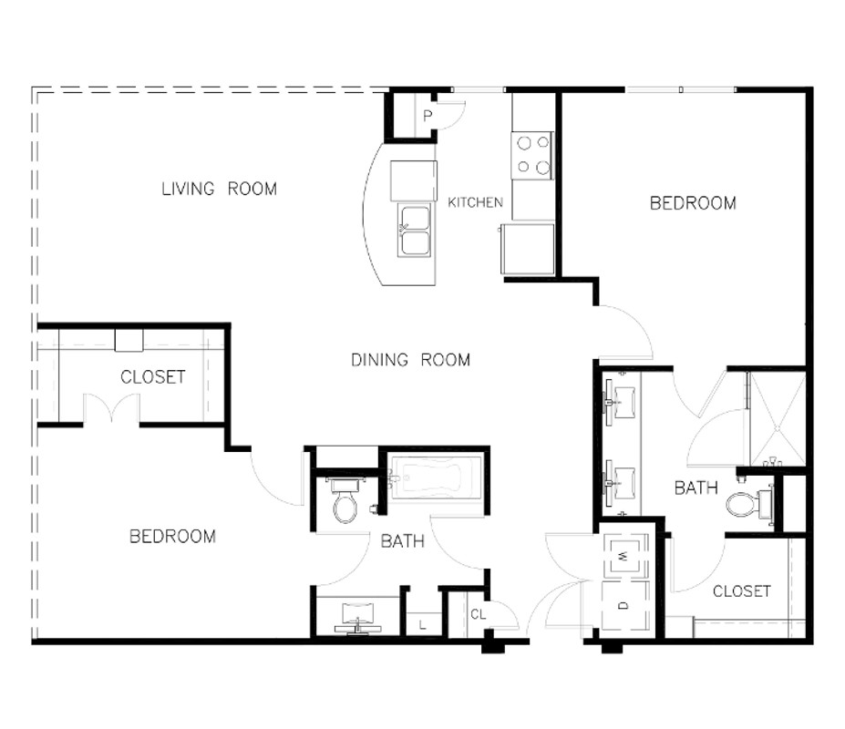 1,199 sq. ft. to 1,287 sq. ft. B2 floor plan