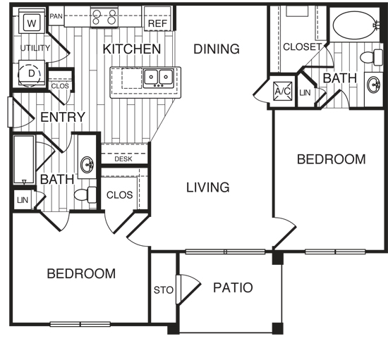 1,040 sq. ft. B1/Emerald floor plan