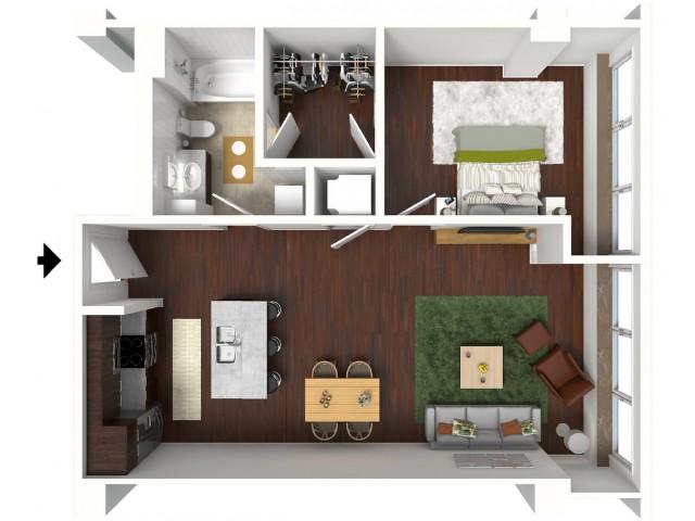 767 sq. ft. Azure floor plan
