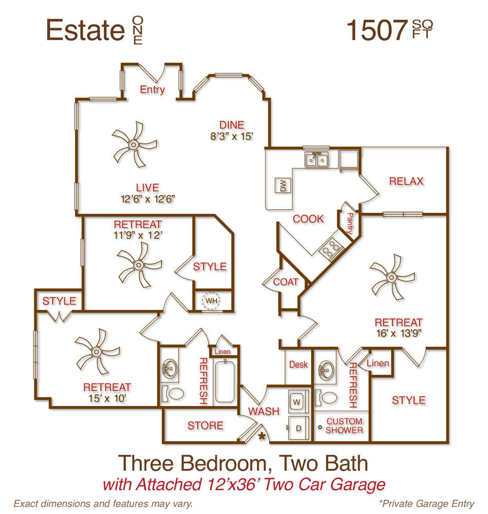 1,507 sq. ft. C1 floor plan