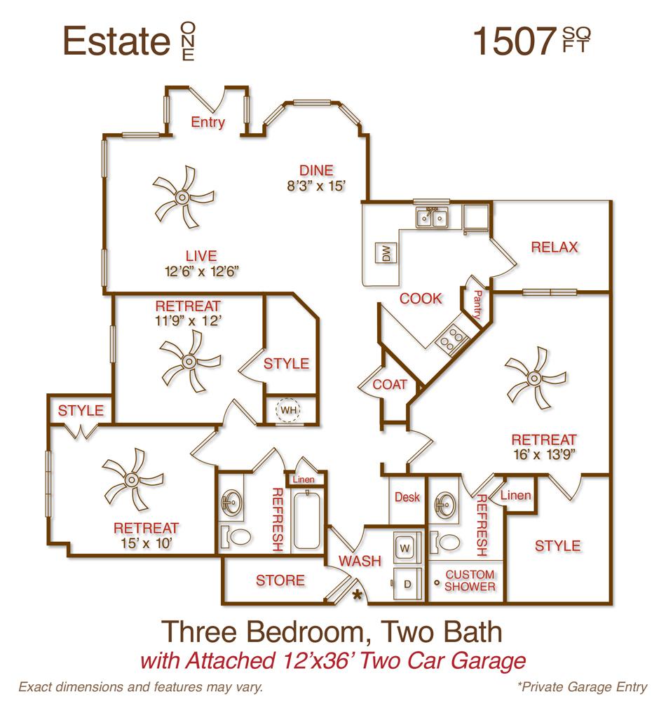 1,507 sq. ft. C1 floor plan