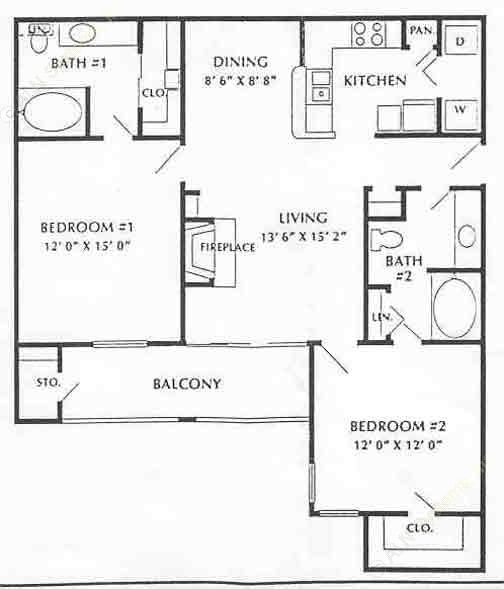 1,052 sq. ft. B2 floor plan
