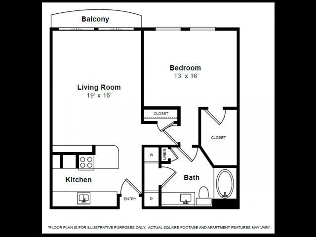 928 sq. ft. A2 floor plan