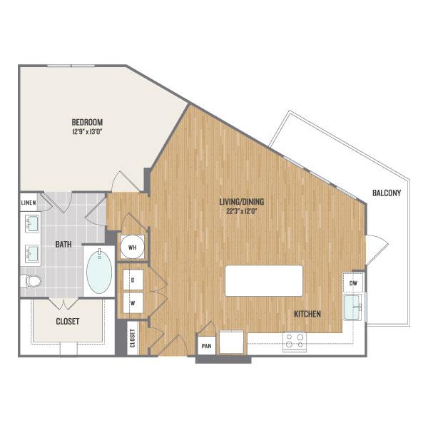 909 sq. ft. A14 floor plan