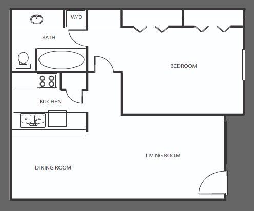 618 sq. ft. A floor plan