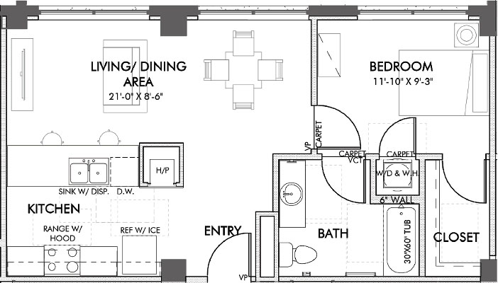 643 sq. ft. Houston.2 60% floor plan