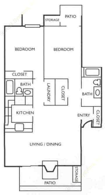 1,178 sq. ft. B3 floor plan