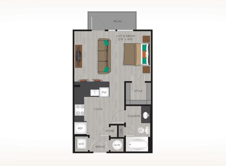504 sq. ft. E floor plan