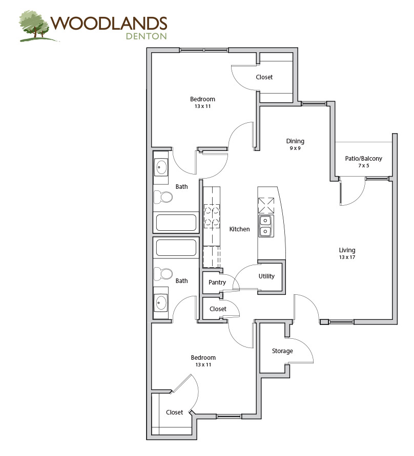 870 sq. ft. Maple floor plan