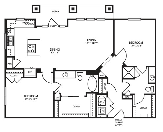 1,199 sq. ft. B2G Alt floor plan
