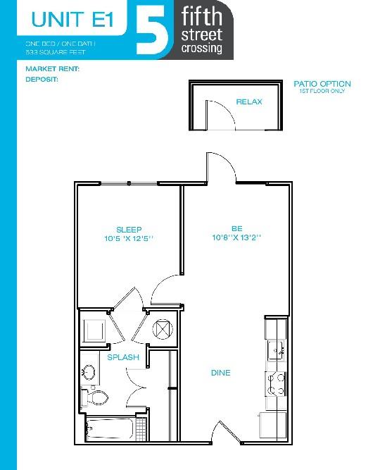 633 sq. ft. E1 floor plan