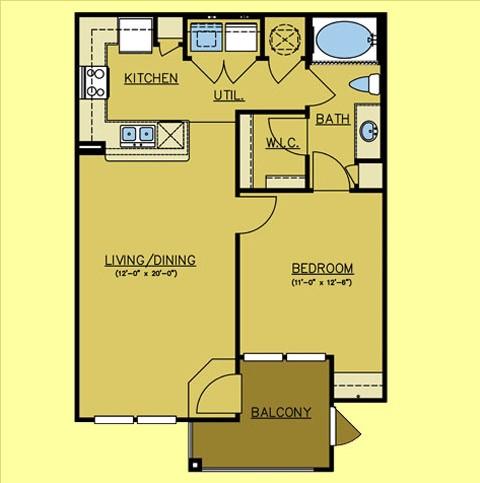 716 sq. ft. Red River floor plan