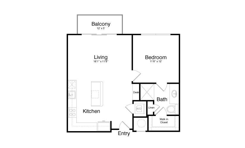 732 sq. ft. A5 floor plan
