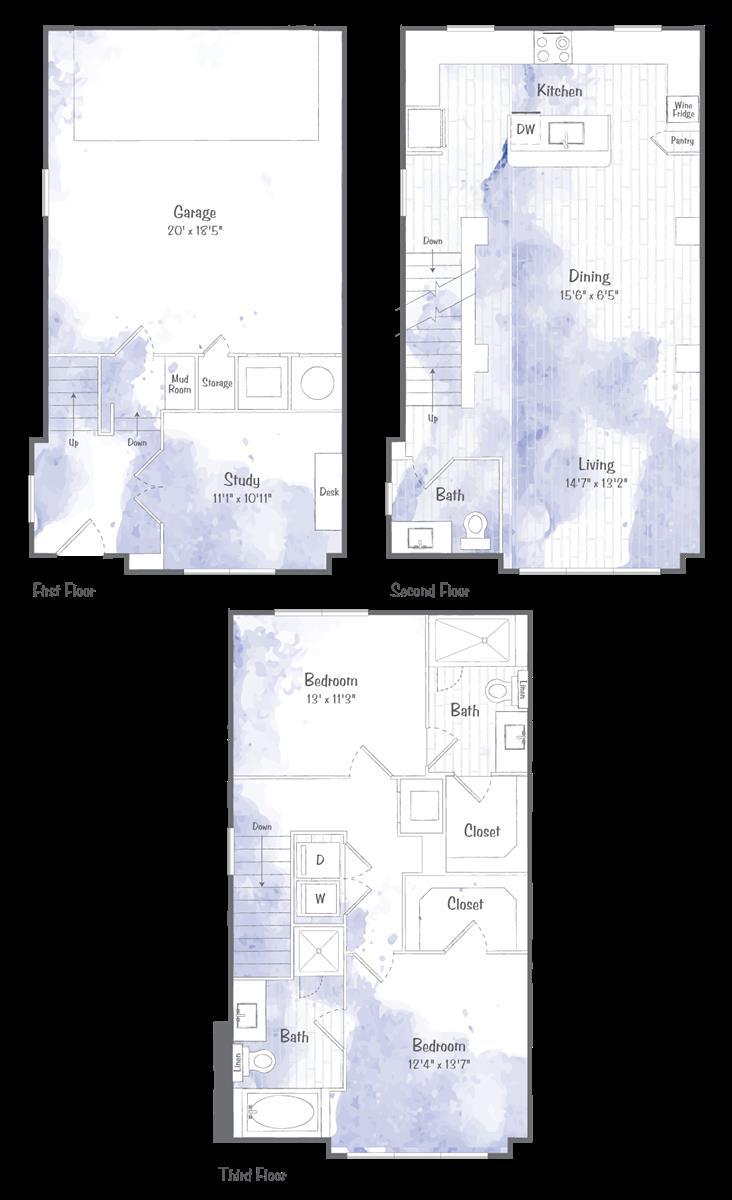 1,614 sq. ft. TH2 floor plan