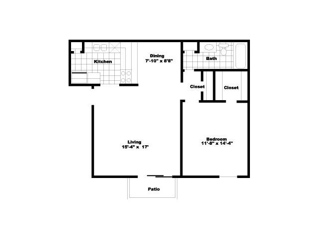 723 sq. ft. to 751 sq. ft. A3 floor plan