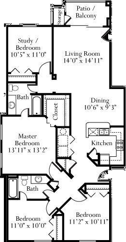 1,433 sq. ft. Azalea floor plan