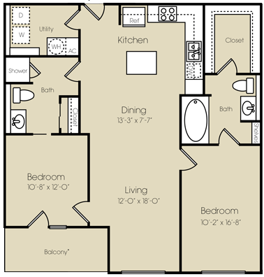 1,135 sq. ft. Battery Park floor plan